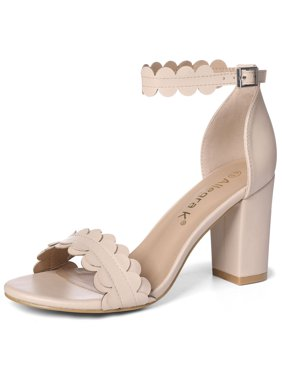 0848aa693eb Product Image Unique Bargains Women s Open Toe Block Heel Scalloped Ankle  Strap Sandals Nude (Size ...