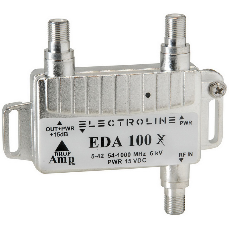 Electroline EDA100 Low Noise Miini CATV Cable and Antenna TV Amplifier +15dB