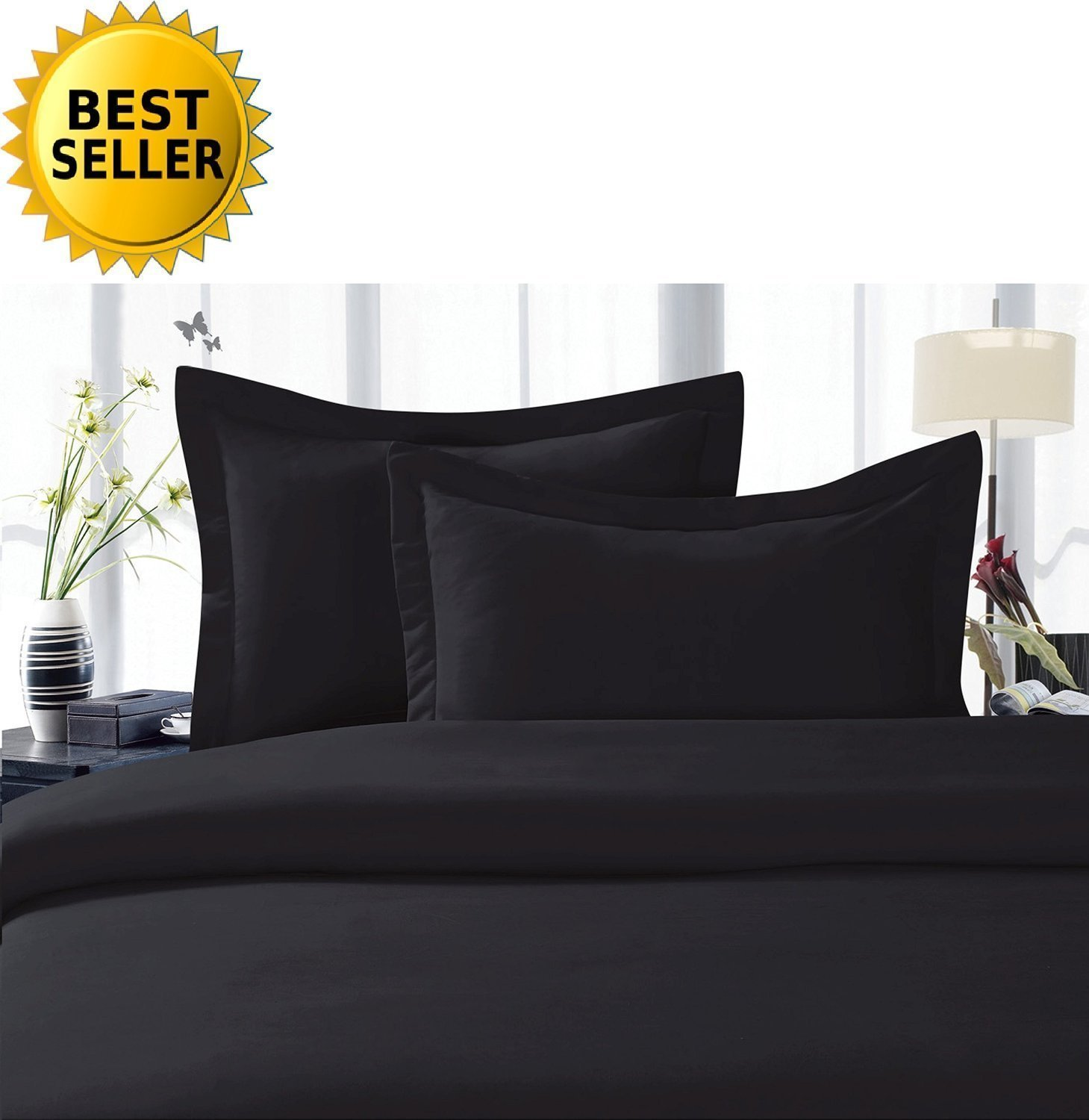 Elegant Comfort ® 1500 Thread Count Egyptian Quality Super Soft Wrinkle Free 4 pc Sheet Set, Deep Pocket - All size and Colors ★★ Great Deal ★★ , Queen Black