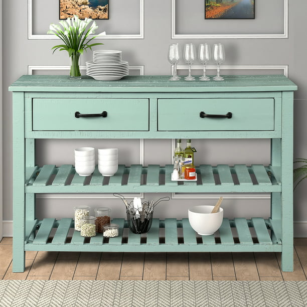 Console Table With Storage Drawers Btmway 45 Rustic Wood Hallway Foyer Living Room Entryway Modern Farmhouse Narrow Couch Sofa Tables W 2 Tiers Shelves Antique Blue R663 Com - Small Console Table With Drawers