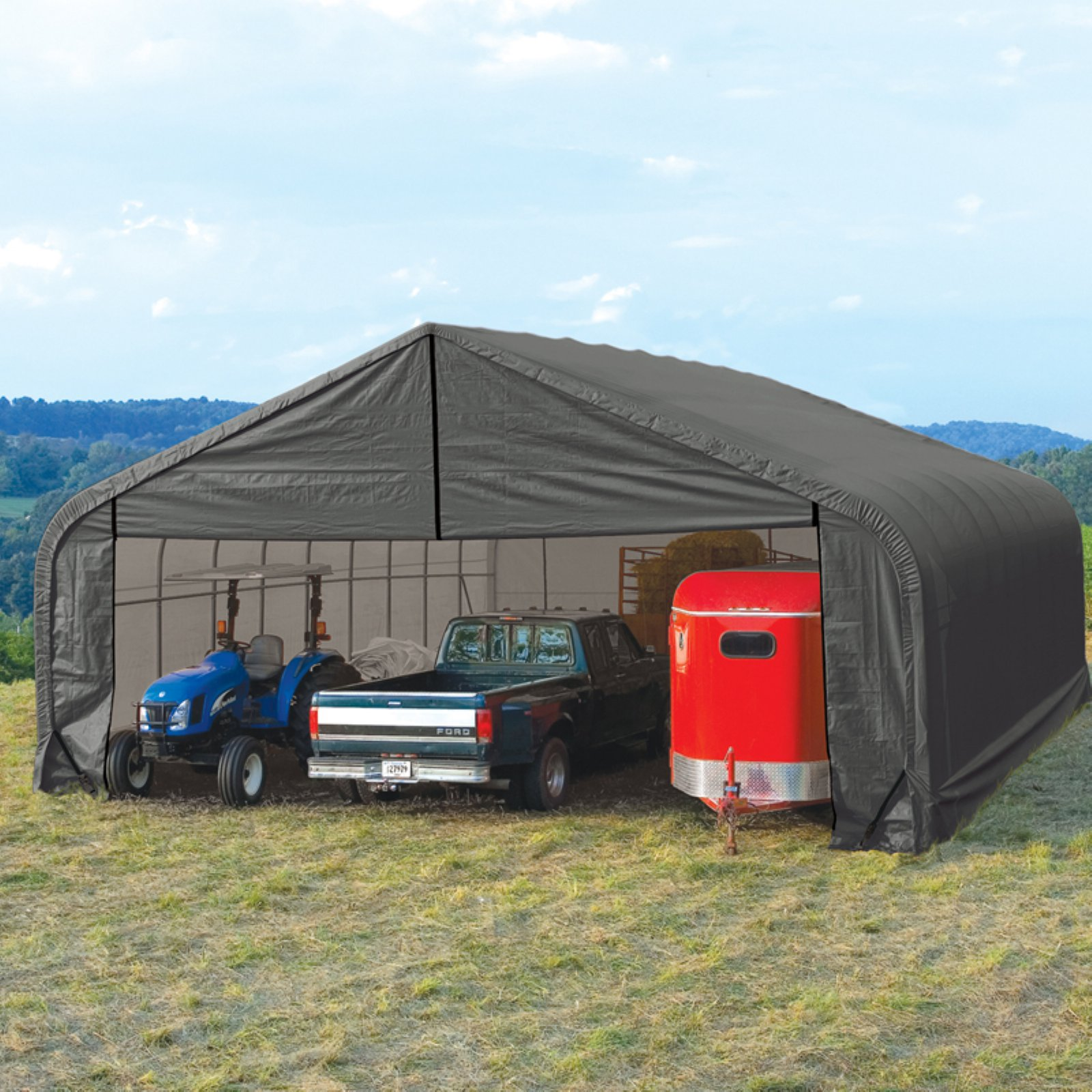 Shelterlogic 28' x 24' x 16' Peak Style Shelter, Green