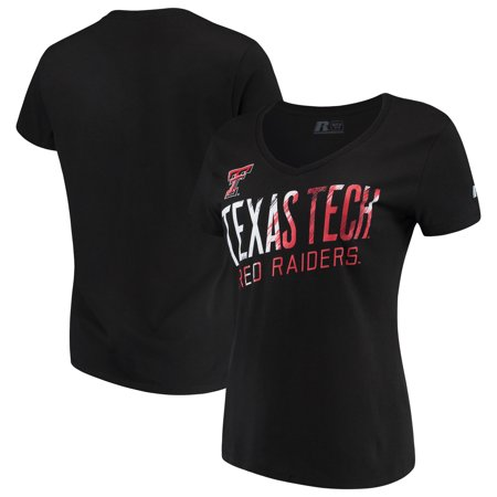 Women's Russell Black Texas Tech Red Raiders Tunic Cap Sleeve V-Neck T-Shirt