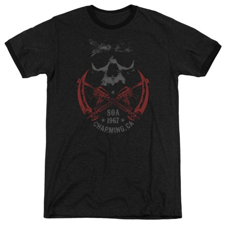 Sons Of Anarchy Cross Guns Mens Adult Heather Ringer Shirt - Sons Of Anarchy Happy Halloween