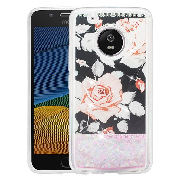 Moto G5 Plus Case Glitter Cute Liquid Glitter Waterfall Quicksand Soft Shock Proof Bling Bumper Phone Cover Girls for Moto G Plus (5th Generation) 2017 Release - White Roses - image 2 of 3