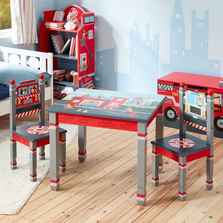 Little Firefighter Fantasy Fields Table & Chairs Set - Teamson Kids