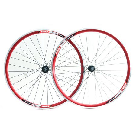 Speed Aero 700c Road Bike Double Wall Alloy Wheelset 8-10 Speed Red QR