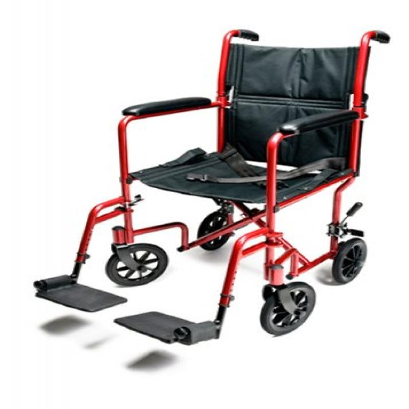 Everest & Jennings Aluminum Transport Chair with 5 Inches Swivel Casters, 19 ...