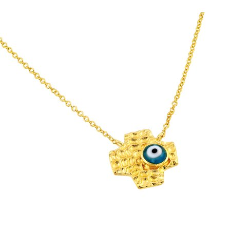 - .925 Sterling Gold Plated Evil Eye Blue Iris Square Cross Pendant Necklace 18 Inches
