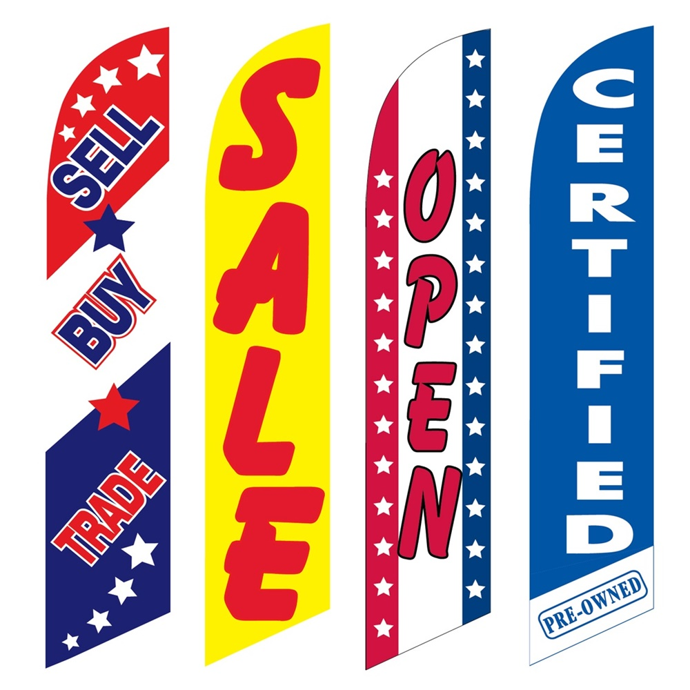 4 Advertising Swooper Flags Sell Buy Trade Sale Open Certified Pre Owned