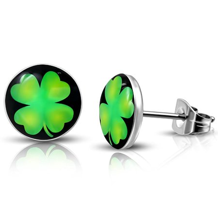 10mm Stainless Steel 3 tone Love Heart Shamrock Flower Circle Stud Earrings pair