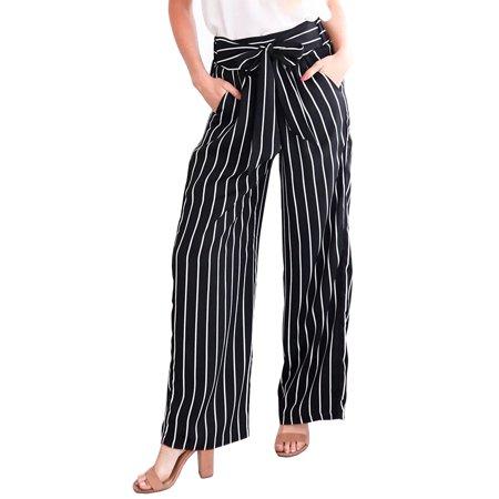 Women Striped High Waist Wide Leg