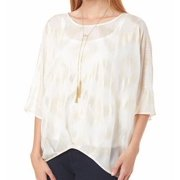 AGB NEW White Ivory Women's Size Large L Shimmer Hi-Low Foil Chiffon Blouse