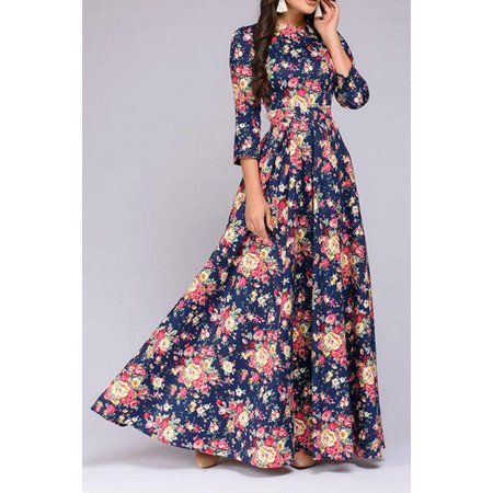 491297f07 Unomatch - Women Slim Long Foral Decorated Gown Party Dress - Walmart.com