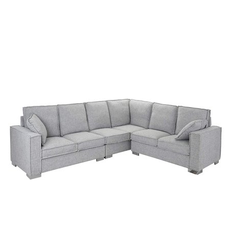 Miraculous Large Living Room Fabric Sectional Sofa L Shape Couch Light Grey Spiritservingveterans Wood Chair Design Ideas Spiritservingveteransorg