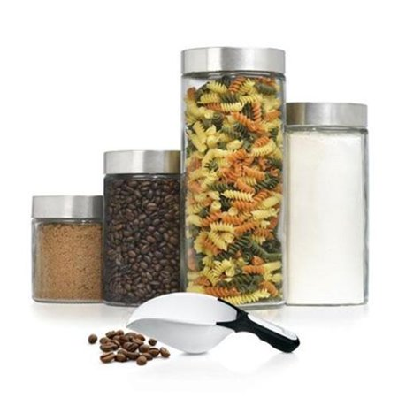 4 Pc Glass Cannister Set with - Canister Pewter Scoop