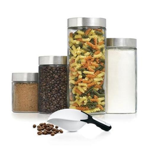 ***Discontinued***Anchor Hocking 4pc Round Glass Canister Set with Stainless Steel Lids, Red