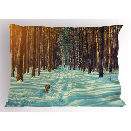 Winter Pillow Sham Skier Figure Running Dog in the Forest Winter Season Snow and Dead Nature, Decorative Standard Queen Size Printed Pillowcase, 30 X 20 Inches, Orange Brown Seafoam, by Ambesonne ()