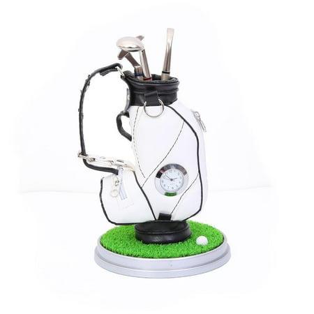 Elegantoss Miniature Golf Bag Pen Holder with Clock, Mini Desktop Golf Souvenir Set with 3 Pens Shaped Like Golf Clubs, Novelty Golf Gift Set