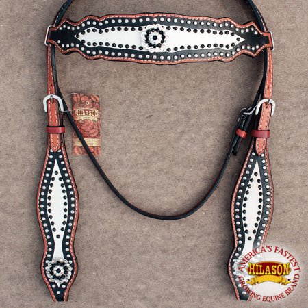 Hilason Western Leather Horse Bridle Headstall Black White Bling Concho