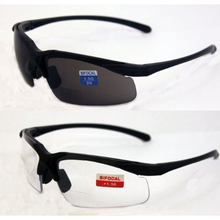 Global Vision Set of 2 Apex 1.5 Bifocal Safety Glasses - Clear and Smoke