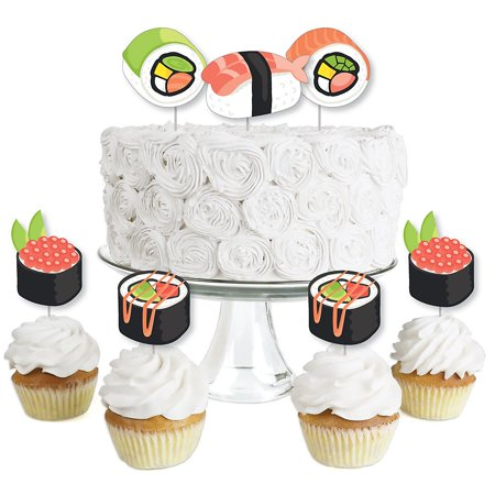 Let's Roll - Sushi - Dessert Cupcake Toppers - Japanese Party Clear Treat Picks - Set of 24