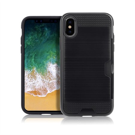 Heavy Duty Card Slot Holder Shockproof Resistant Protective Shell Case Wallet Cover for Apple iPhone X 10 ten- Black ()