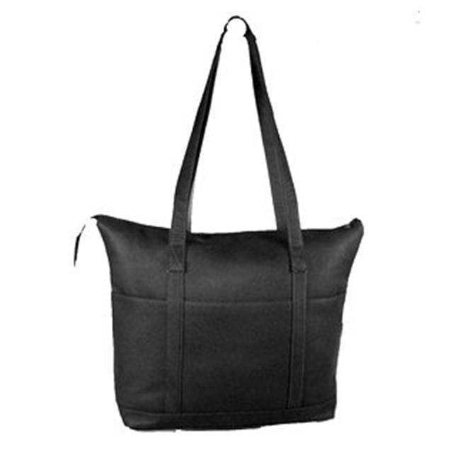 David King Leather Large Multi Pocket Shopping Tote in Black