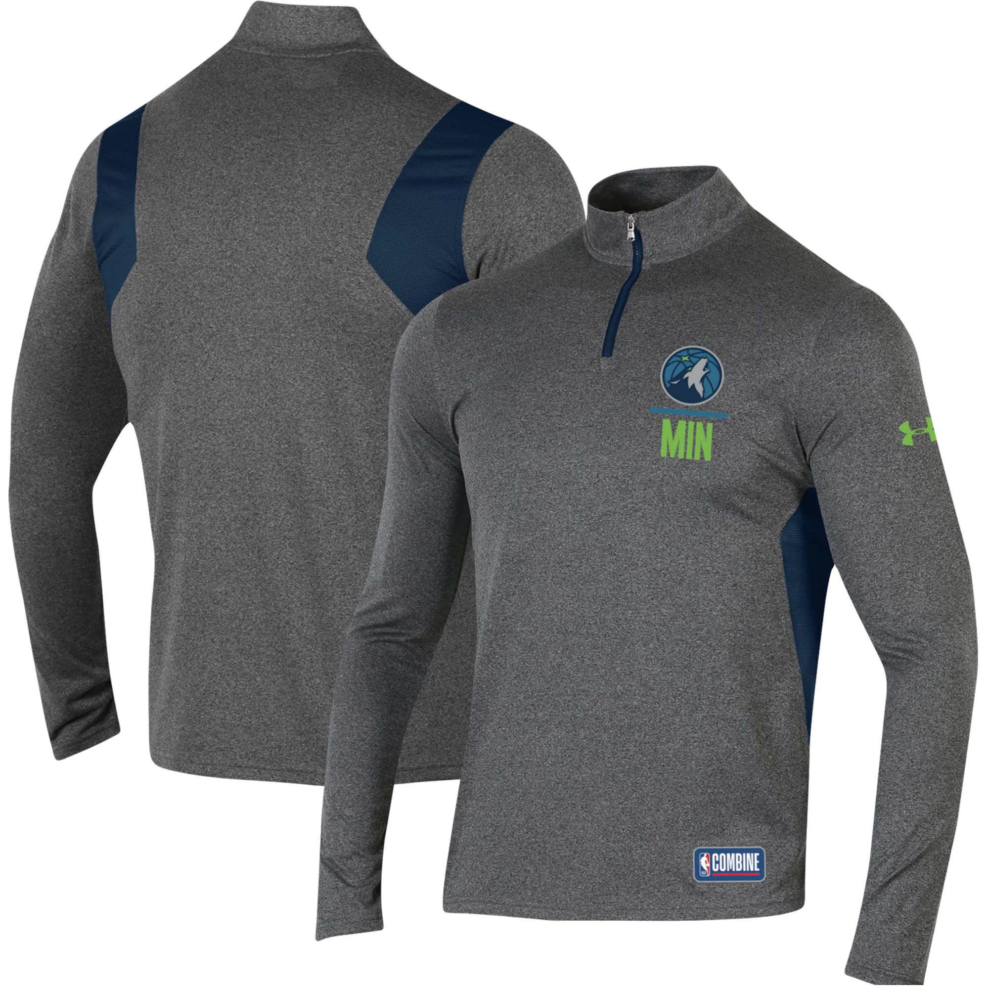Minnesota Timberwolves Under Armour Combine Authentic Season Tech Quarter-Zip Pullover Jacket - Heathered Charcoal