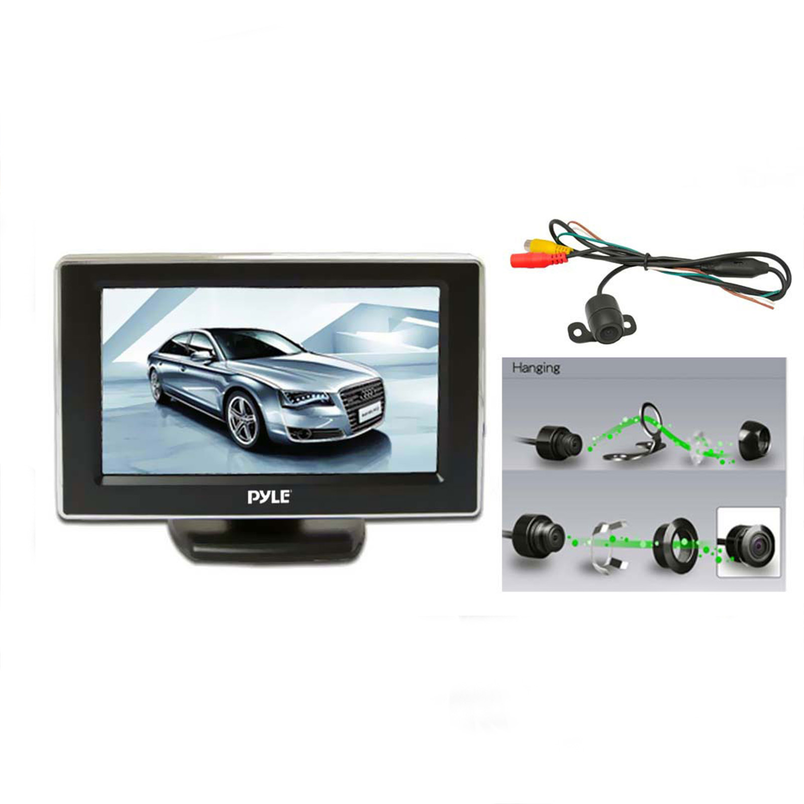 "Pyle 4.3"" TFT LCD Monitor w/ Universal Mount Rear View and Backup Color CMD Distance Scale Line Camera"
