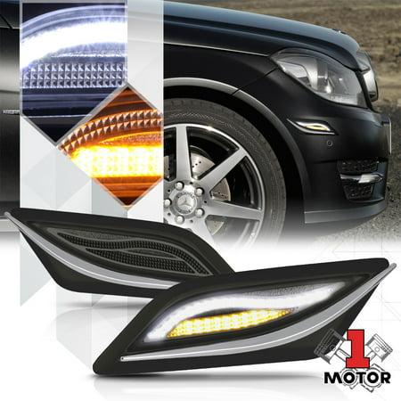 Black/Smoke LED Side Marker DRL Running/Signal Light for 12-15 Mercedes  C-Class 13 14
