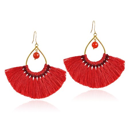 Agate Antique Earrings (Chic Fan Shaped Red Tassels with Agate Bead Accent Brass Dangle Earrings)
