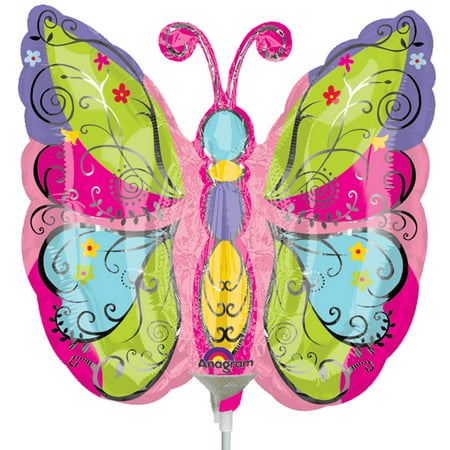 Anagram Whimsical Spring Garden Colorful Butterfly Mini Foil Balloon