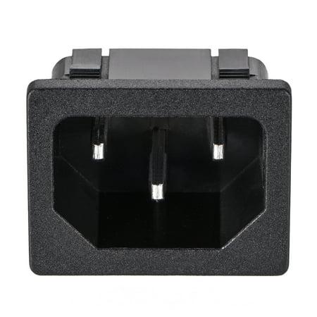 C14 Panel Mount Plug Adapter AC 250V 10A 3 Pins IEC Inlet Plug Socket 10pcs - image 1 de 3