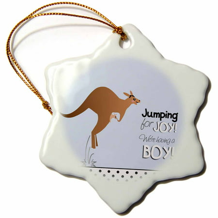 3dRose Jumping for joy having a boy - cute kangaroo blue baby shower pregnancy birth its a boy announcement, Snowflake Ornament, Porcelain, 3-inch