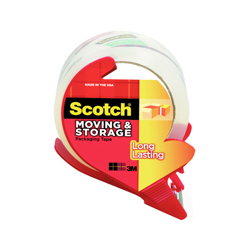 Scotch Long Lasting Moving and Storage Tape Dispenser, 1.88in. X 38.2 yd. per Roll, Clear, 1 Dispenser/Pack