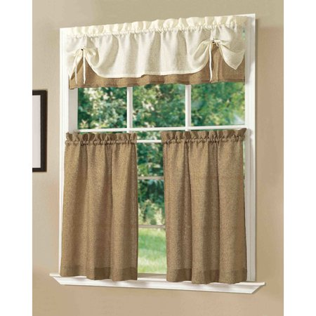 dainty home kitchen sunrise curtain set set of 3. Black Bedroom Furniture Sets. Home Design Ideas