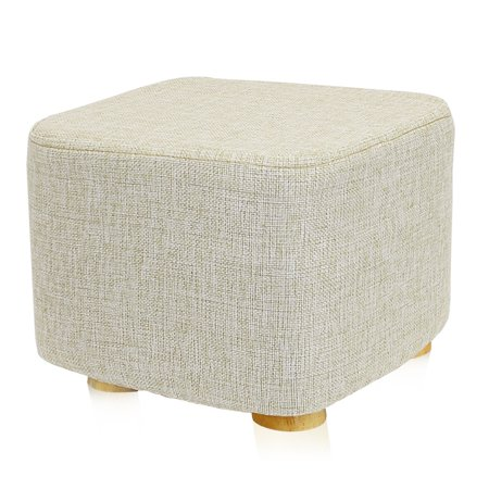 Square Ottoman Foot Stool, 4 Leg Stands, Short Leg, Square Shape | Linen Fabric, Beige ()