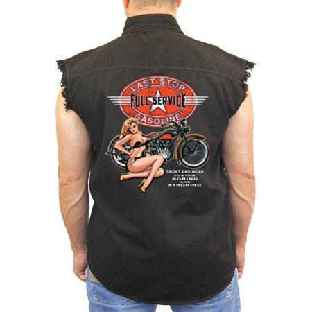 Gasoline Denim (Men's Sleeveless Denim Shirt Last Stop Full Service Gasoline Biker)