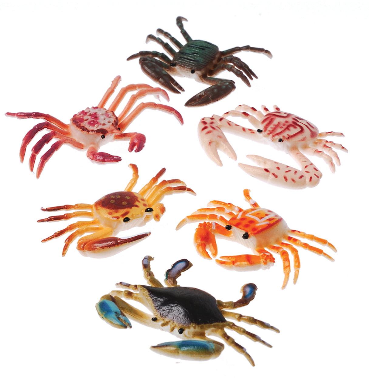 Plastic Toy Crabs Sea Creature Crustacean Colorful 12 Pack