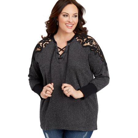 3b8cbc29fb6 maurices - Plus Size Crochet Lace Sleeve Pullover - Walmart.com