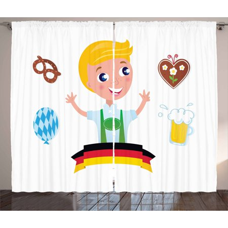 German Curtains 2 Panels Set, Bavarian Boy with Blonde Hair with Oktoberfest Symbols Beer Balloon and Pretzel, Window Drapes for Living Room Bedroom, 108W X 63L Inches, Multicolor, by Ambesonne for $<!---->