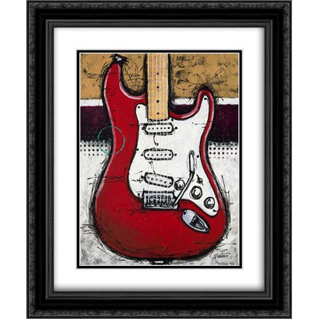 Electric Red 2x Matted 20x24 Black Ornate Framed Art Print by Langton, Bruce