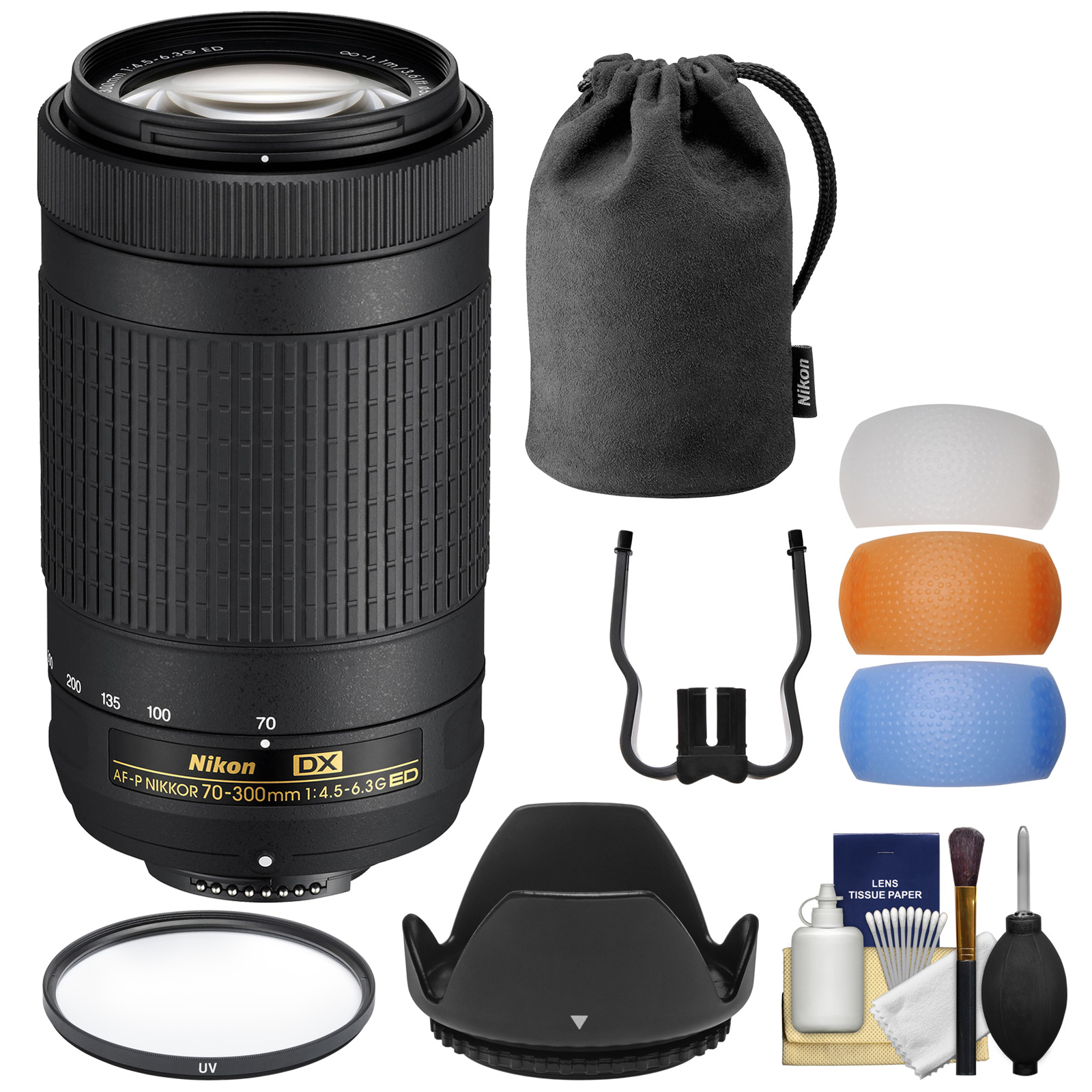 Nikon 70-300mm f/4.5-6.3G DX AF-P ED Zoom-Nikkor Lens - Factory Refurbished with Pouch + Hood + Filter + 3 Pop-up Flash Diffusers + Kit