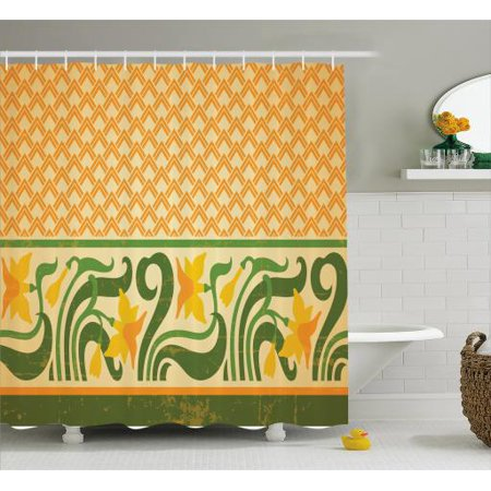 Art Nouveau Shower Curtain Fresco Ornament Geometric Pattern With
