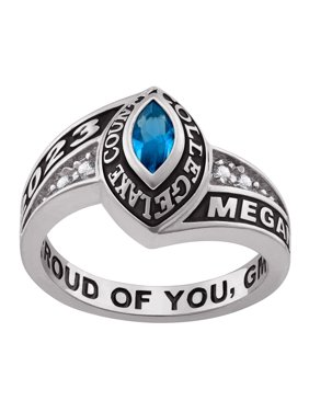 Personalized Women's Celebrium Marquise Birthstone and CZ Class Ring