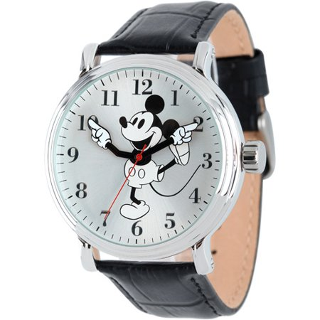 Mickey Mouse Men's Shinny Silver Vintage Articulating Alloy Case Watch, Black Leather Strap