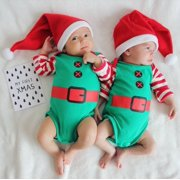 Toddler Baby Boy Girl Christmas Romper Jumpsuit Bodysuit Hat Outfit Clothes