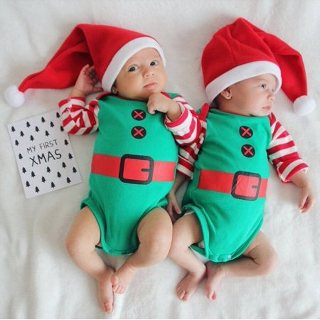 Toddler Baby Boy Girl Christmas Romper Jumpsuit Bodysuit Hat Outfit Clothes](Fun Christmas Outfits)
