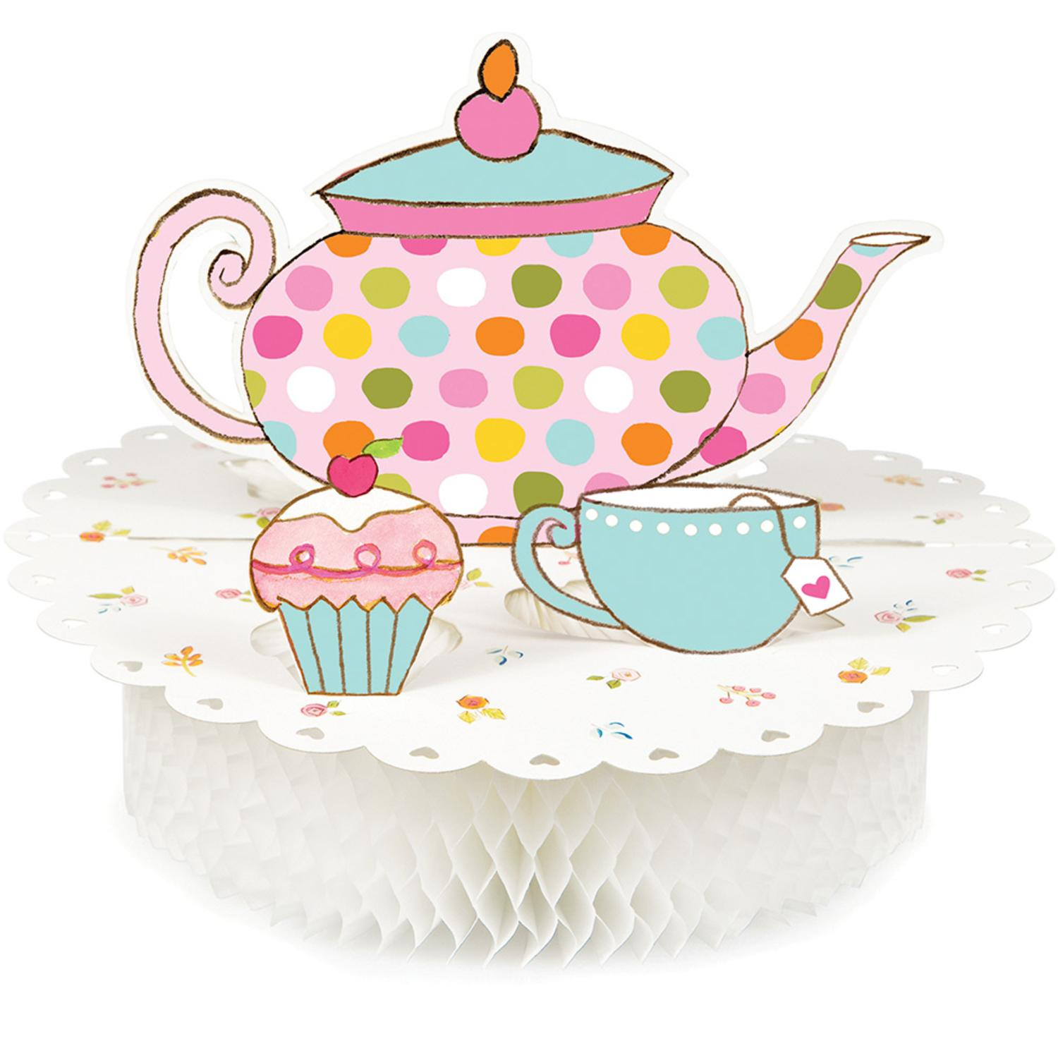 """Pack of 6 Multi-Colored Tea Time Diecut Honeycomb Centerpiece Party Decorations 12"""""""
