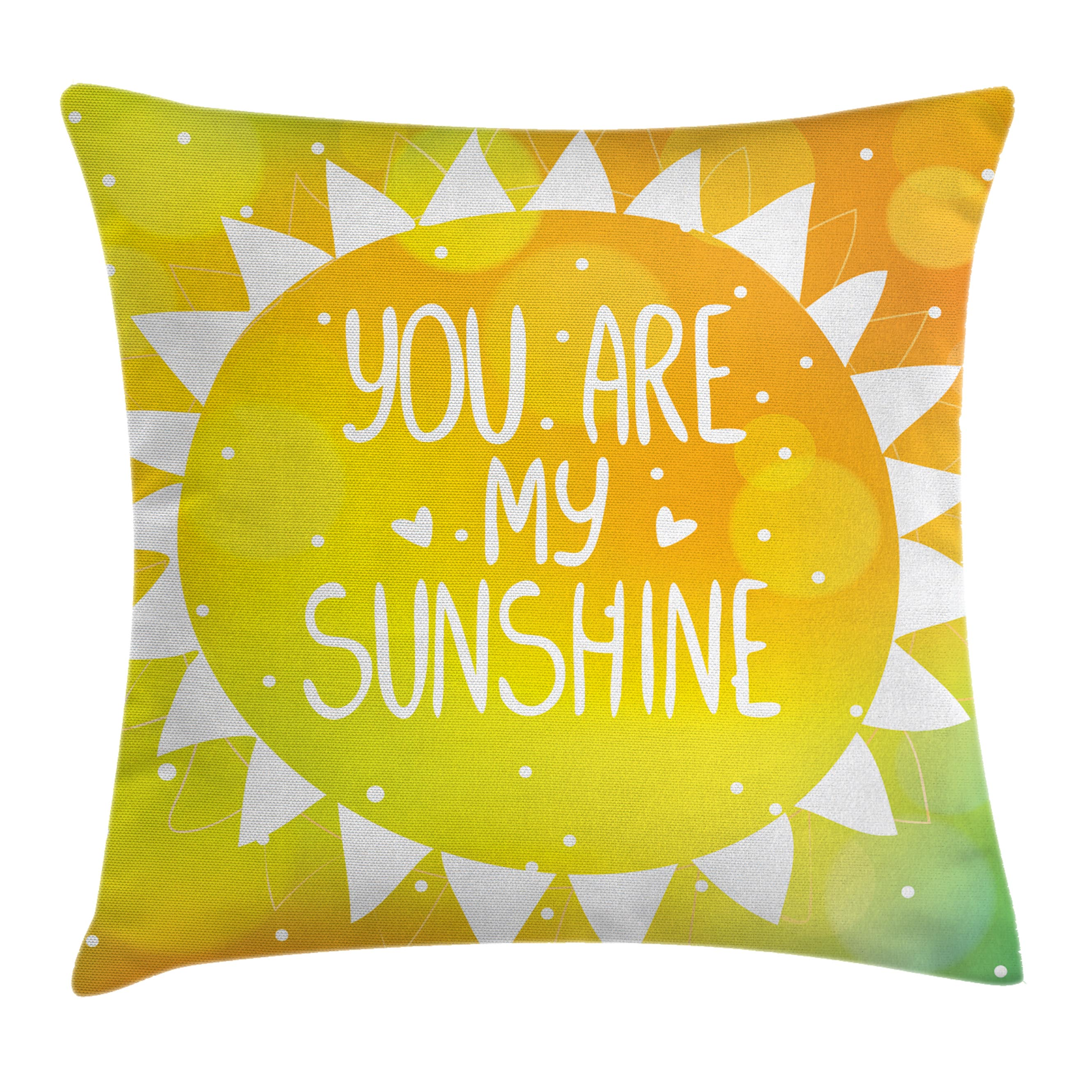 Quotes Decor Throw Pillow Cushion Cover, Radiant Sunshine Phrase Made with Cute Triangles Dots Ethnic Kitsch Love Artwork, Decorative Square Accent Pillow Case, 18 X 18 Inches, Yellow, by Ambesonne